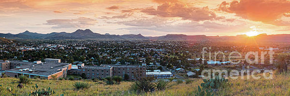 Sunset Panorama of Alpine and Sul Ross State University - Brewster County - Far West Texas by Silvio Ligutti