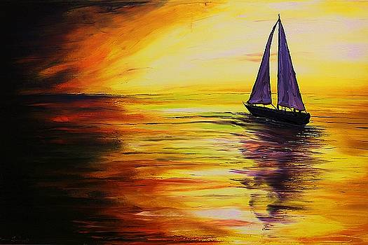 Sunset Sails #2 by Portland Art Creations