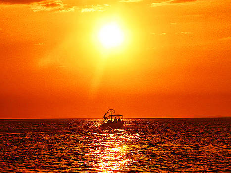 Sunset, Sea, and Boat by Pete Marchetto