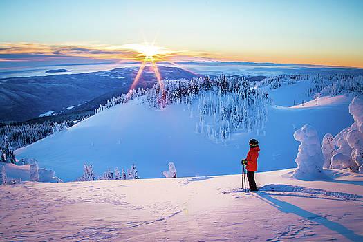 Sunset Skier #1 by Sam Egan