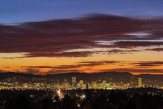 Sunset Sky over Portland Oregon City Skyline by David Gn