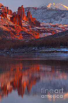 Sunset Snow Caps And Towers by Adam Jewell