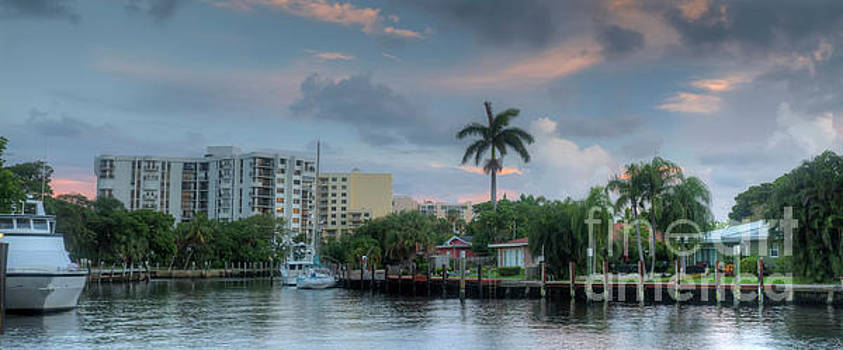 sunset South Florida canal by Ules Barnwell