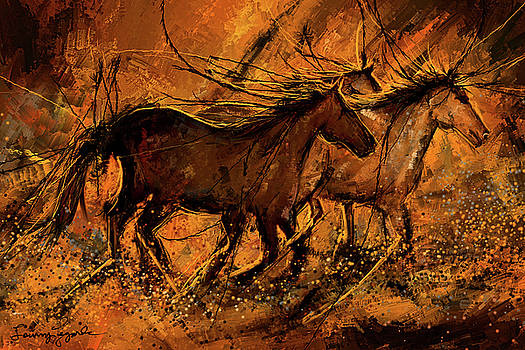 Sunset Stride - Horses In The Wild Sepia painting by Lourry Legarde