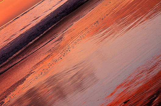 Sunset Stripes on Sand and Sea by Sandy Fisher