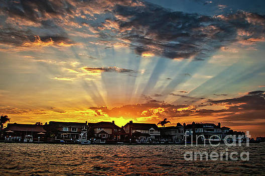 Sunset Sunrays over Huntington Harbour by Peter Dang