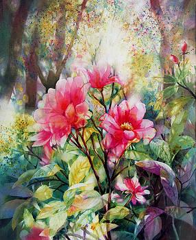 Sunset Trellis Roses by Judith Hallbeck Meyeraan
