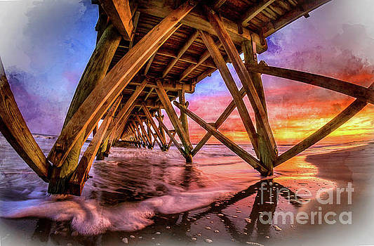 Sunset Under the Pier - Watercolor by David Smith