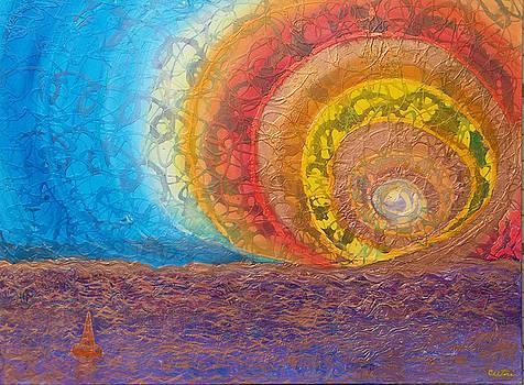 Anne Cameron Cutri - Sunset unfurls over purple sea