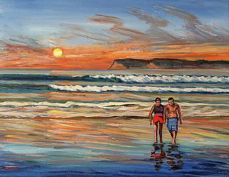 Sunset walk on Coronado Beach  by Robert Gerdes