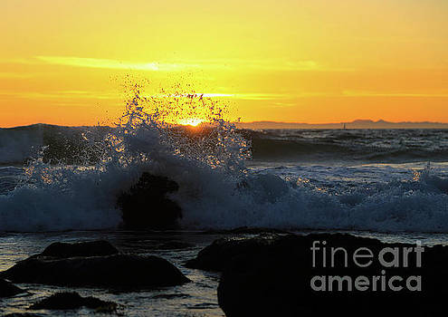 Sunset Wave Break by E Williams
