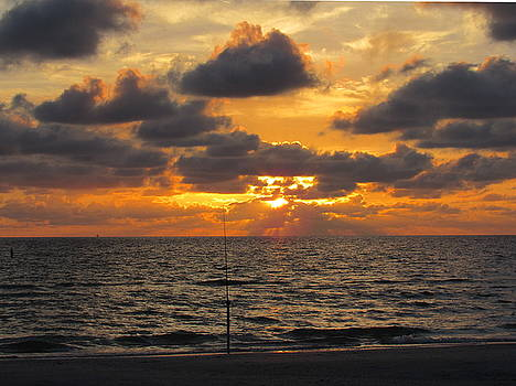 Sunset with Fishing Pole by Ron Enderland