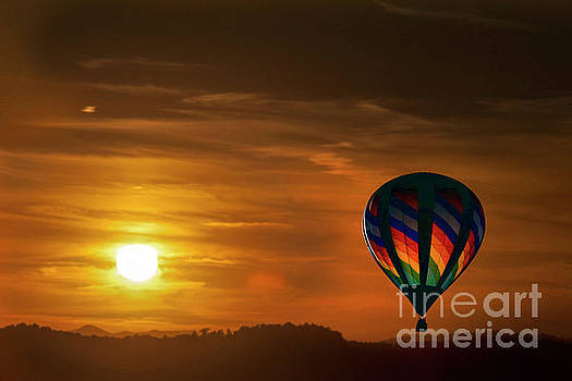 Dan Friend - Sunset with hot air balloon in sky