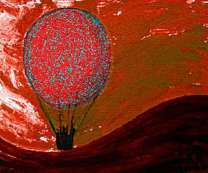 Sunset with red hot air balloon. by Lenka Rottova