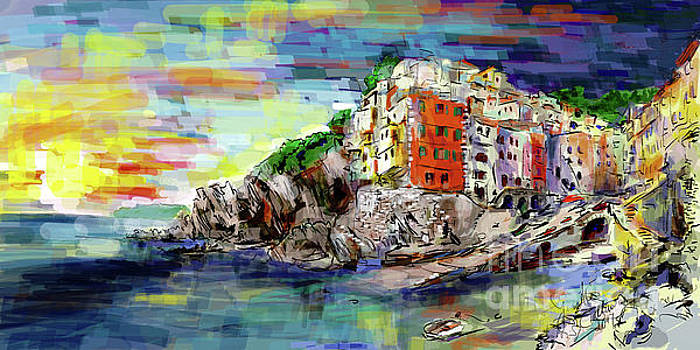 Sunsets over Riomaggiore Italy by Ginette Callaway