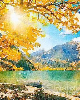 Rich Governali - Sunshine Through Trees on Lake