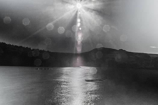 Sunspots Over Ladybower Black and White by Scott Lyons