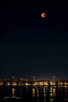 Super Blood Moon Over Ventura, California Pier by John A Rodriguez