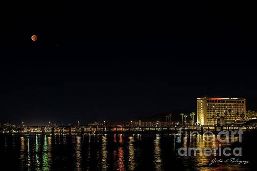 Super Blue Blood Moon Over Ventura, California Pier  by John A Rodriguez