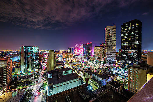 Super Bowl LI Down Town Houston Fireworks by Micah Goff