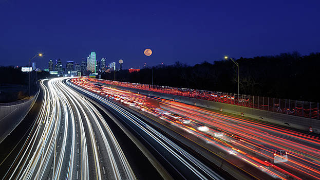 Super Moon and Dallas Texas Skyline by Robert Bellomy
