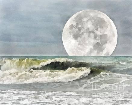 Super Moon Rise Over the Ocean by Helene Guertin