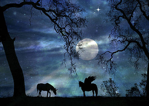 Super Moon With Unicorn and Pegasus by Stephanie Laird
