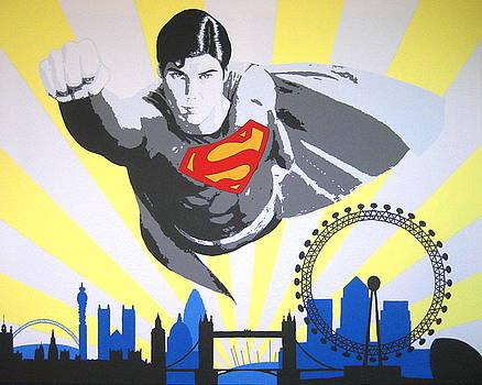 Superman over London by Dan Carman