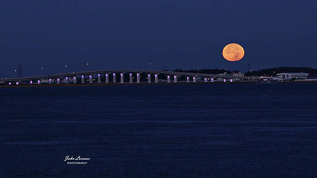 Supermoon over Somers Point by John Loreaux