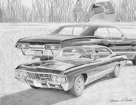 Supernatural Impala CLASSIC CAR ART PRINT by Stephen Rooks