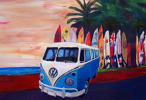 Surf Bus Series - Blue White VW Surf Bus T1 Kombie Bulli at Surf Board Beach by M Bleichner