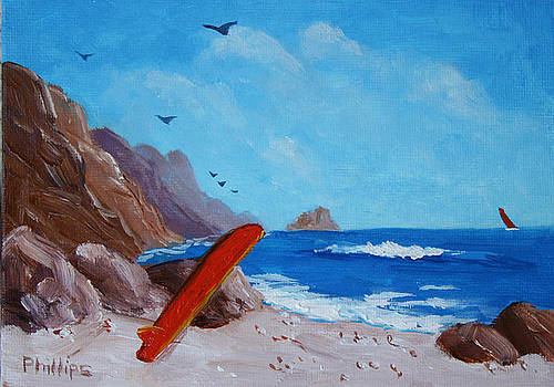 Surfboard and Rocks by Bob Phillips