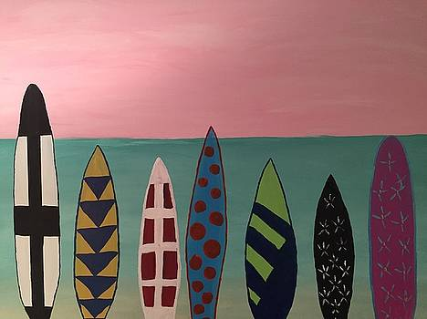 Surfboards at on Beach by Paula Brown