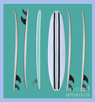 Surfboards Blue Square by Edward Fielding