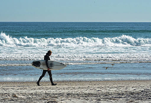 Surfer And His Board by Sandi OReilly