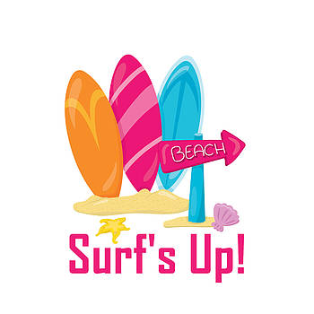 Surfer Art - Surf's Up To The Beach With Surfboards by Life Over Here