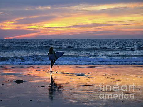 Surfer Girl Entering the Sea by E Williams