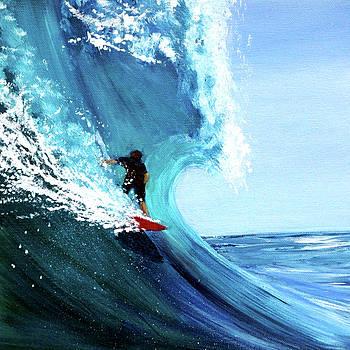 Surfer on a red board by Katy Hawk