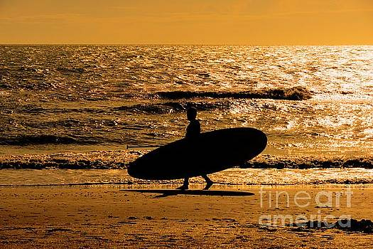 Surfer Silhouette - 4795c by Debra Kewley