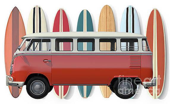 Surfer Van Tee by Edward Fielding