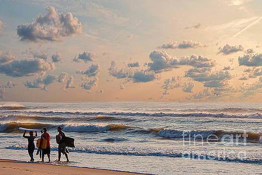 Surfing At Sunrise On The Jersey Shore by Jeff Breiman