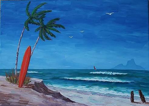 Surfing Bora Bora by Bob Phillips