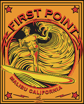 Surfing First Point Malibu California by Larry Butterworth