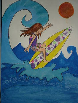 Surfing in the sea by Aditi Laddha