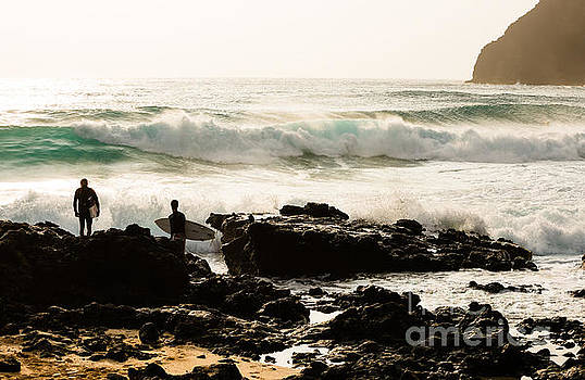 Surfing Makapu Beach  by MaryJane Armstrong