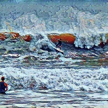 Surfing Rockaway Beach by Rita Tortorelli