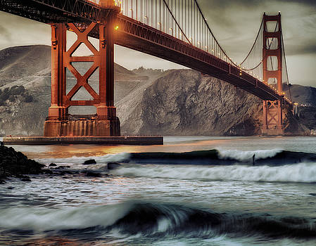 Surfing the Shadows of the Golden Gate Bridge by Steve Siri