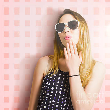 Surprise beauty girl on pink salon wall by Jorgo Photography - Wall Art Gallery