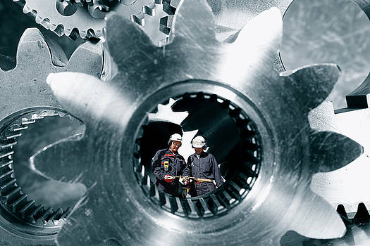 Surreal Image Of Workers Inside Giant Gears And Cogs by Christian Lagereek