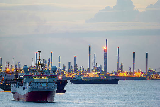 Survey and Cargo Ships off the Coast of Singapore Petroleum Refi by David Gn